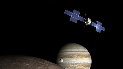 By 2023, JUICE will explore during three and a half years the moons of the Jovian system in search for extraterrestrial life. ©Airbus D&S