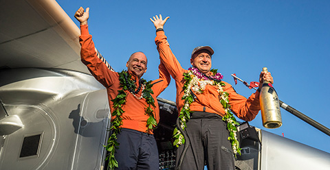 Bertrand Piccard and André Borschberg celebrating the incredible 3 July 2015 success of Solar Impulse 2 in Hawaii. ©Solar Impulse