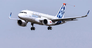 In turn the Airbus A319neo takes to the skies