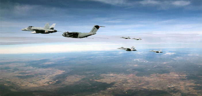 An Airbus A400M Atlas successfully refuels six F-18 in a single sortie